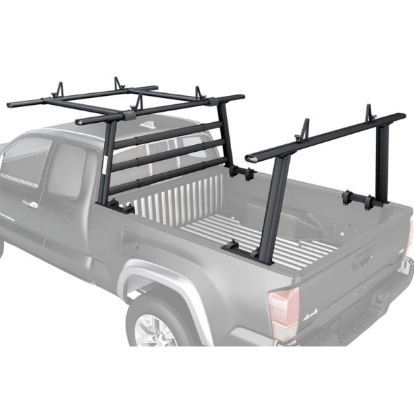 Still truck roof rack black in color attached to the pickup truck fastened with Nuts and bolts