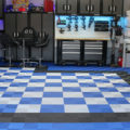 Garage floor with blue black and white colers