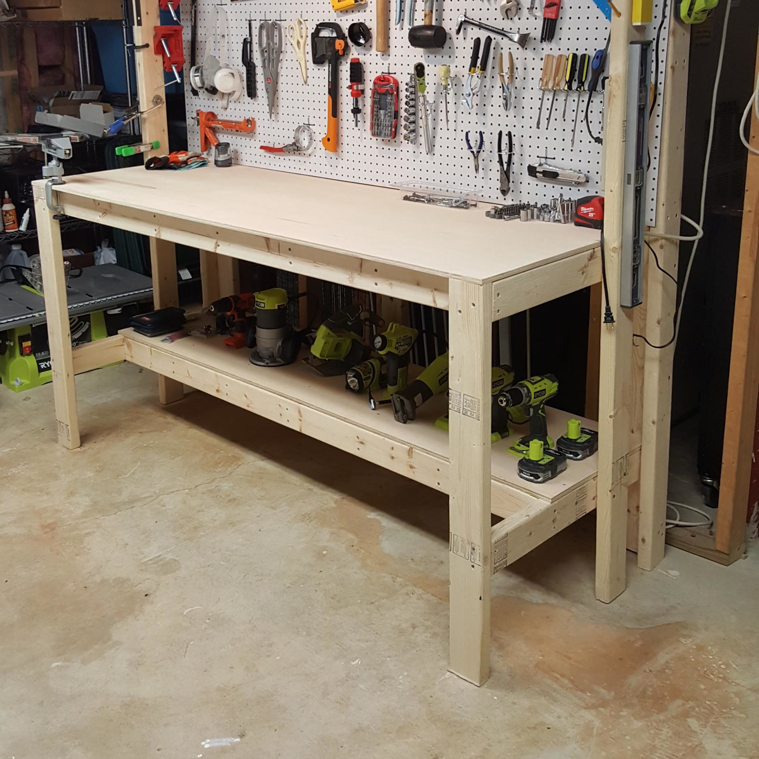 What is the best size for a garage workbench?